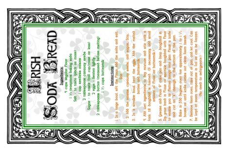 Irish Soda Bread Recipe Tea Towel fabric by erinej on Spoonflower - custom fabric