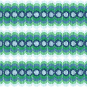 Scalloping Circles Ikat Green and Blue