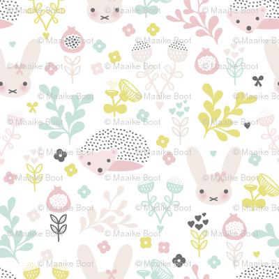 Adorable spring blossom flower garden easter bunny and hedgehog illustration print for little girls SMALL