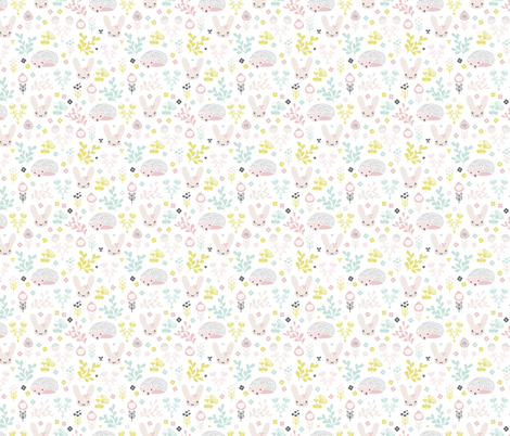 Adorable spring blossom flower garden easter bunny and hedgehog illustration print for little girls SMALL fabric by littlesmilemakers on Spoonflower - custom fabric