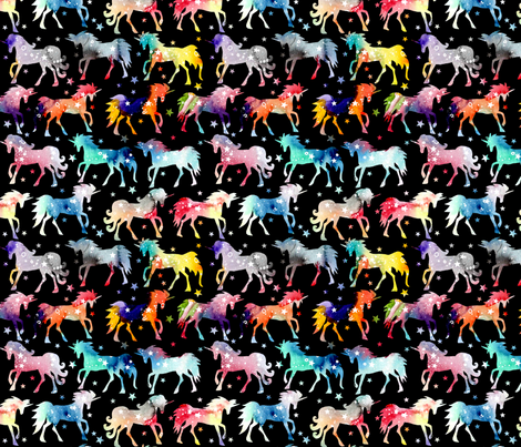 Rainbow Watercolour Galaxy Unicorns - black_background fabric by emmaallardsmith on Spoonflower - custom fabric