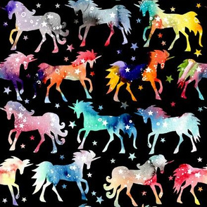 Rainbow Watercolour Galaxy Unicorns - black_background