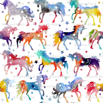 Rainbow Watercolour Galaxy Unicorns White Background
