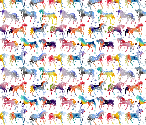 Rainbow Watercolour Galaxy Unicorns - white background fabric by emmaallardsmith on Spoonflower - custom fabric