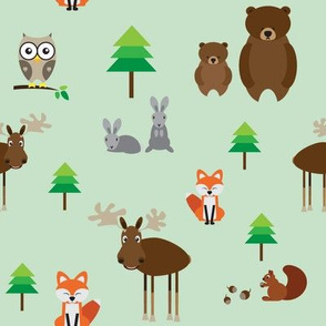 Forest animals // green fox elk moose bear owl pine tree rabbit hare squirrel cute woodland whimsical