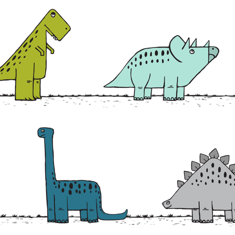 dinos on parade - multi  fabric by littlearrowdesign on Spoonflower - custom fabric