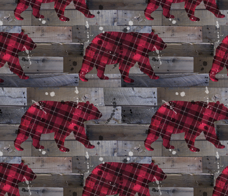 Plaid Bear on Wood fabric by karismithdesigns on Spoonflower - custom fabric