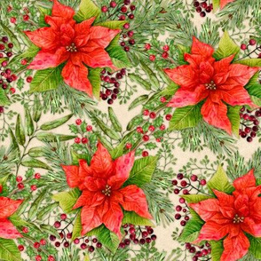 Poinsettia Gift Wrap Red