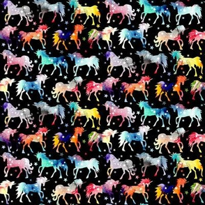 Rainbow Watercolour Galaxy Unicorns - black - smaller scale