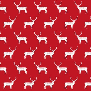 reindeer // red christmas reindeer cute christmas fabric simple red christmas design