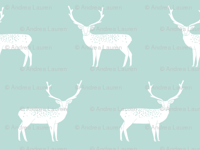 reindeer mint christmas deer xmas holiday design christmas fabric cute reindeers
