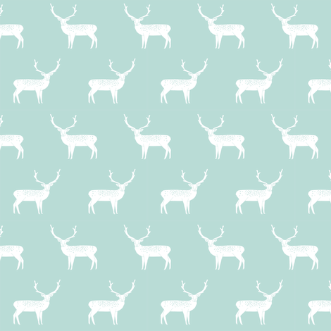 reindeer mint christmas deer xmas holiday design christmas fabric cute reindeers fabric by andrea_lauren on Spoonflower - custom fabric