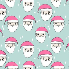 santa // pink and mint christmas fabric cute xmas holiday christmas design girls christmas pink fabric