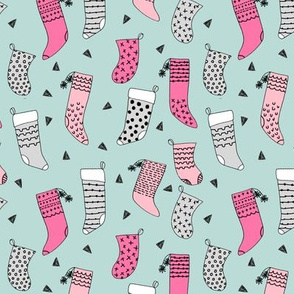 stockings // pink stockings cute christmas design pink and mint christmas fabric
