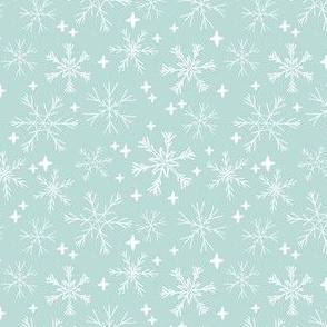 snowflakes // mint snowflake christmas fabric winter mint xmas holiday fabric