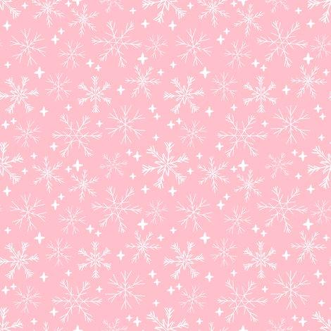Snowflakes Christmas Fabric Cute Pink Christmas Winter Fabric