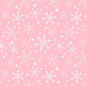 snowflakes // christmas fabric cute pink christmas winter fabric cute xmas holiday christmas design
