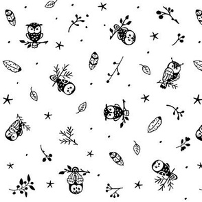 owls in black on white