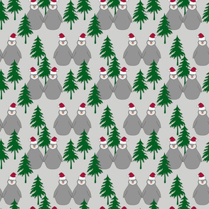 christmas penguins pinetrees