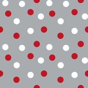 christmas dots // grey and red christmas xmas holiday christmas fabric cute holiday christmas design