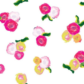 Painted Flowers On White_Miss Chiff Designs