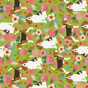 beagle beagles flowers florals pet cute dogs dog flowers vintage green beagles railroad fabric