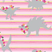 Gray Floral Dinosaur on horizontal stripe_Miss Chiff Designs