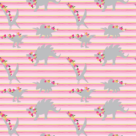 15-06D Girl Dinosaur 4 x 3 || Painted Gray grey Pink Flower Garland Floral Hot pink yellow stripe_Miss Chiff Designs fabric by misschiffdesigns on Spoonflower - custom fabric