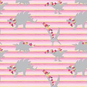 15-06D Girl Dinosaur 4 x 3 || Painted Gray grey Pink Flower Garland Floral Hot pink yellow stripe_Miss Chiff Designs