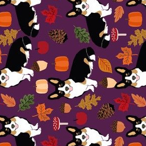 corgi autumn leaves fall pumpkin pinecones acorn autumns corgis dog breed fabric tri colored black and tan corgi railroad fabric