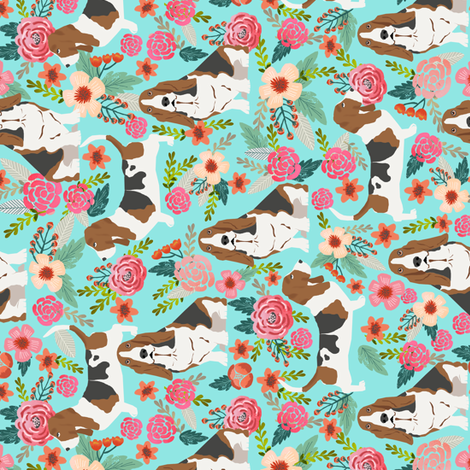 basset hound flowers florals spring cute flowers vintage floral print dogs basset hound fabrics fabric by petfriendly on Spoonflower - custom fabric