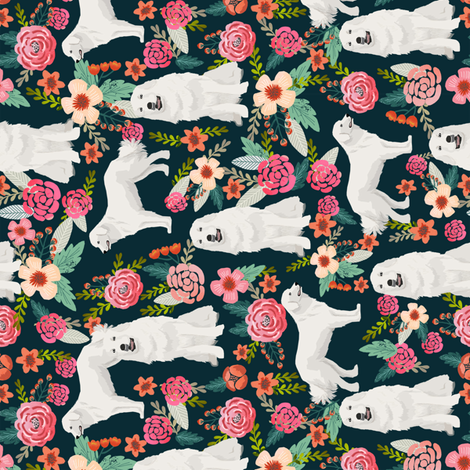 great pyrenees dog fabric cute vintage florals dog design best florals fabric for dog lovers cute florals fabric railroad fabric florals fabrics fabric by petfriendly on Spoonflower - custom fabric