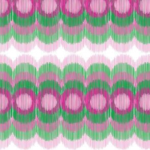 Scalloping Circles Ikat Pink and Green