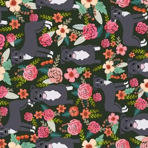 pitbull terriers dark green flowers florals dogs dog fabric railroad florals fabric cute dogs florals fabric