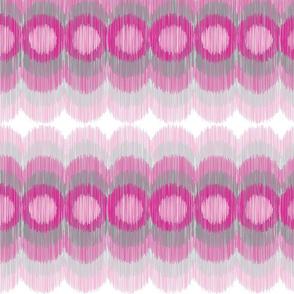 Scalloping Circles Ikat Pink Gray