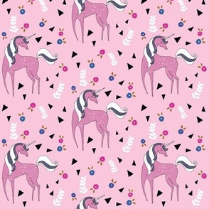 Unicorn mix / cute girls lilac & purple unicorn design with triangle & flowers