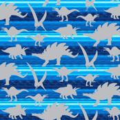Gray grey Boy Dinosaur on royal sky blue stripe _ Miss Chiff Designs