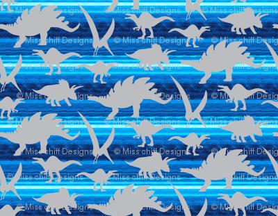 16-05X Gray grey Boy Dinosaur 4 x 3 on royal sky blue stripe _ Miss Chiff Designs