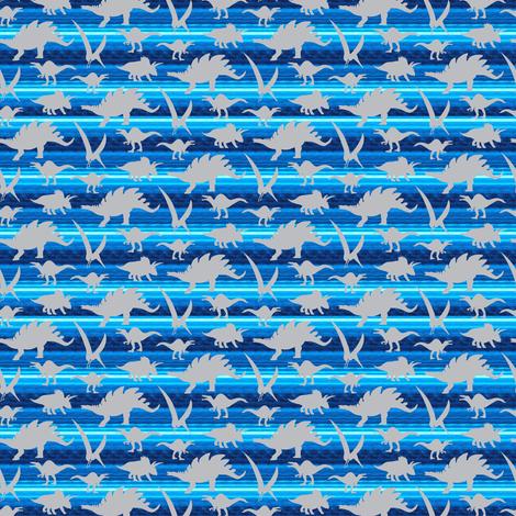 16-05X Gray grey Boy Dinosaur 4 x 3 on royal sky blue stripe _ Miss Chiff Designs  fabric by misschiffdesigns on Spoonflower - custom fabric