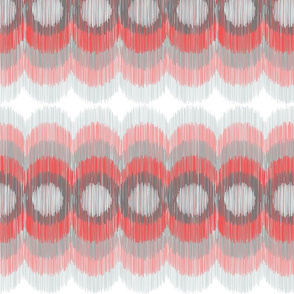 Scalloping Circles Ikat Coral and Gray