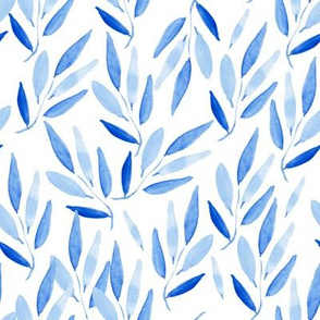 blue leaves on white