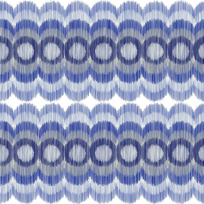 Scalloping Circles Ikat Dark Blue and Gray