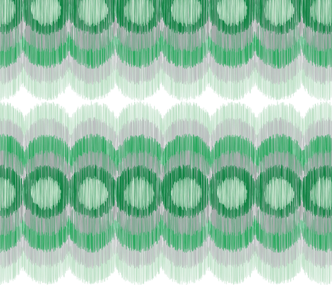 Scalloping Circles Ikat Green and Gray fabric by boxwood_press on Spoonflower - custom fabric