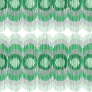 Scalloping Circles Ikat Green and Gray