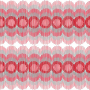 Scalloping Circles Ikat Red and Gray