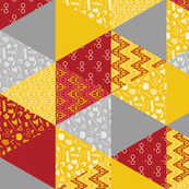 Pastel Potter Cheater Quilt - Maroon, Gold & Gray