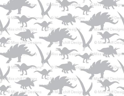 16-05V Gray Dinosaur || Animal Boy Grey White _Miss Chiff Designs