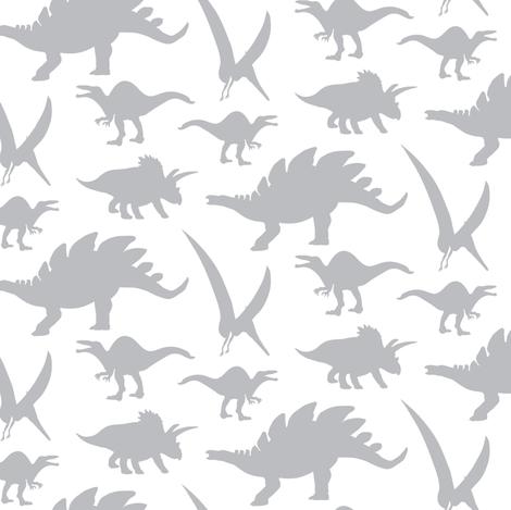 16-05V Gray Dinosaur || Animal Boy Grey White _Miss Chiff Designs fabric by misschiffdesigns on Spoonflower - custom fabric