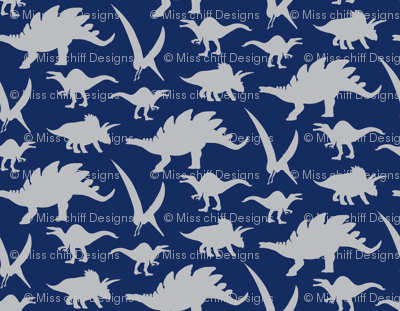 Silver gray grey boy dinosaur animal on navy blue for Grey dinosaur fabric