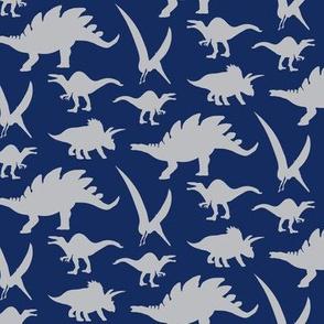 16-05g Silver Gray Grey Boy Dinosaur || Animal on Navy Blue  _ Miss Chiff Designs